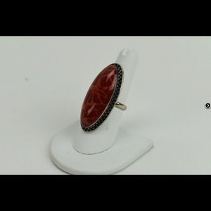 Stunning Red Onyx Sterling Ring - Rare